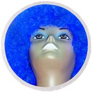 Blue Curled Cutie Round Beach Towel