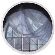 Hand-painted Blue Curtain In An Arch Window Round Beach Towel