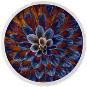 Blue Dahlia Round Beach Towel