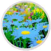 Blue Daisy Round Beach Towel