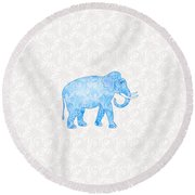Blue Damask Elephant Round Beach Towel