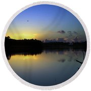 Blue Dawn At Dirickson Creek Round Beach Towel
