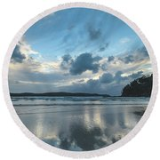Blue Dawn Seascape With Cloud Reflections Round Beach Towel