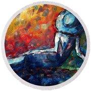Blue Daze Original Madart Painting Round Beach Towel