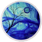 Blue Depth Abstract Original Acrylic Landscape Moon Painting By Megan Duncanson Round Beach Towel