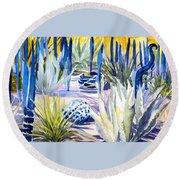 Blue Desert Botanical Desert Phoenix Round Beach Towel