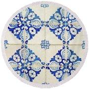 Blue Diamond Flower Tiles Round Beach Towel
