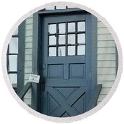 Blue Door At The Seaport Round Beach Towel