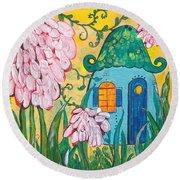 Blue Door Fairy House Round Beach Towel