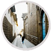 Blue Door In Cusco Round Beach Towel by Darcy Michaelchuk
