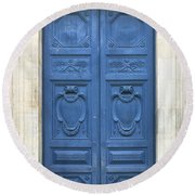 Blue Door In Paris Round Beach Towel