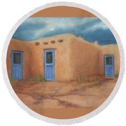 Blue Doors In Taos Round Beach Towel by Jerry McElroy