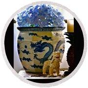Blue Dragon And Hydrangeas Round Beach Towel