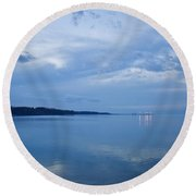 Blue Dusk At Yorktown Round Beach Towel