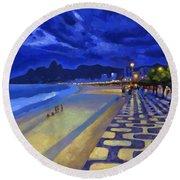 Blue Dusk Ipanema Round Beach Towel