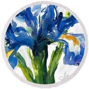 Blue Dutch Iris For Kappa Kappa Gamma Round Beach Towel