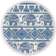 Blue Elephant With Ornaments Design Round Beach Towel