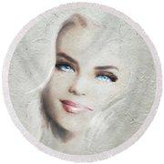 Blue Eyes Blond  Round Beach Towel