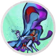 Blue Faerie Round Beach Towel
