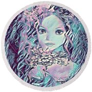 Blue Fairy Princess Round Beach Towel