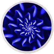 Blue Fantasy Floral Round Beach Towel