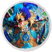 Blue Feather Carnival Costume And Colorful Background Horizontal Round Beach Towel