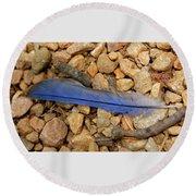 Blue Feather Round Beach Towel