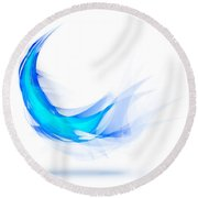 Blue Feather Round Beach Towel