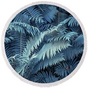 Blue Fern Leaves Abstract. Nature In Alien Skin Round Beach Towel