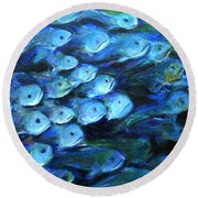 Blue Fish Round Beach Towel