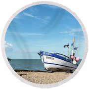 Blue Fishing Boat Round Beach Towel