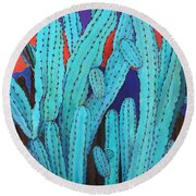 Blue Flame Cactus Acrylic Round Beach Towel