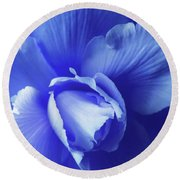 Blue Floral Begonia Round Beach Towel