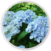Blue Floral Hydrangea Flower Summer Garden Basle Troutman Round Beach Towel