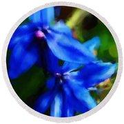 Blue Flower 10-30-09 Round Beach Towel