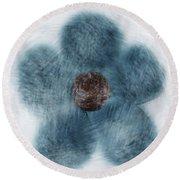 Blue Flower Cloud Round Beach Towel