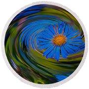 Blue Flower Whirlpool Round Beach Towel