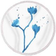 Blue Flowers 1 Round Beach Towel