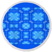 Blue Flowers Abstract Round Beach Towel