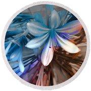 Blue Flowers  Round Beach Towel