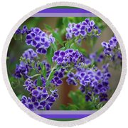 Blue Flowers With Colorful Border Round Beach Towel
