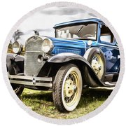Blue Ford Model A Car Round Beach Towel