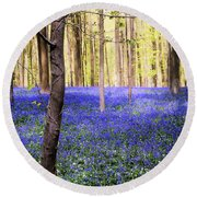 Blue Forest In Shadow Round Beach Towel