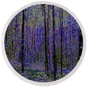 Blue Forest Round Beach Towel