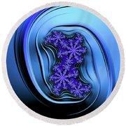 Blue Fractal Art Curved And Elegant Round Beach Towel