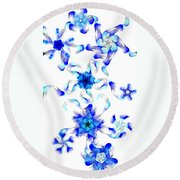 Blue Fractal Flowers Round Beach Towel