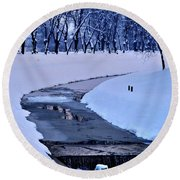 Blue Frozen River Round Beach Towel