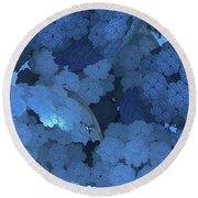 Blue Fungi Round Beach Towel