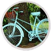 Blue Garden Bicycle Round Beach Towel