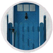 Blue Gate And Door On White House Round Beach Towel